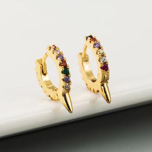 Nueva moda color zircon hip hop pendientes de punzón nihaojewelry al por mayor NHLN213411's discount tags