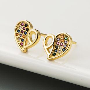 Nueva moda coreana con incrustaciones de cobre coloridos pendientes de circón en forma de corazón salvaje arco iris pendientes nihaojewelry al por mayor NHLN213412's discount tags