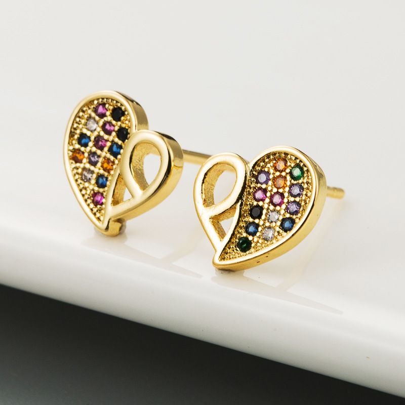 Korean new fashion copper inlaid colorful zircon earrings heart-shaped wild rainbow earrings nihaojewelry wholesale NHLN213412