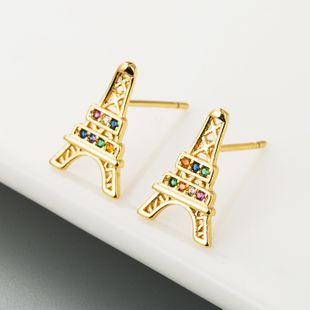 Retro nuevo estilo hip-hop de latón micro-set de circón pendientes de modelado de la Torre Eiffel nihaojewelry al por mayor NHLN213413's discount tags