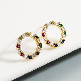 Nueva moda cobre micro-set color zircon 18K pendientes chapados en oro nihaojewelry al por mayor NHLN213414's discount tags