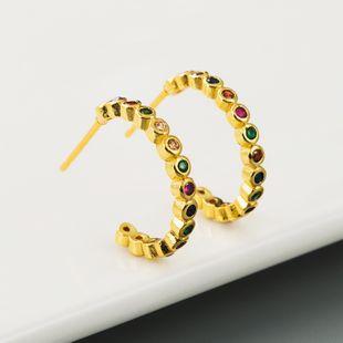 Nuevos pendientes coreanos simples y delicados pendientes de arco iris de cobre puro microconjunto circón pendientes en forma de C nihaojewelry al por mayor NHLN213415's discount tags