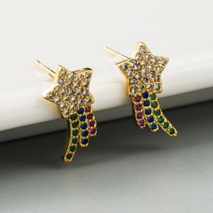 Nueva moda chapado en latón True Gold Star Pendientes Color Zircon Rainbow Pendientes al por mayor NHLN213416's discount tags
