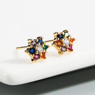 nihaojewelry latón chapado en oro de 18 quilates con incrustaciones de circón de color nuevos pendientes florales vintage NHLN213419's discount tags