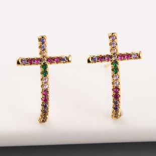 Nueva moda pendientes de oreja cruzada latón plateado oro real micro-set color diamante arco iris pendientes al por mayor NHLN213418's discount tags