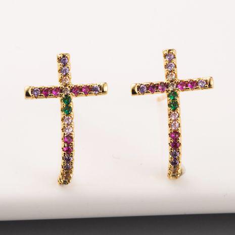 Nouvelle mode croix boucles d'oreilles en laiton plaqué or véritable micro-ensemble couleur diamant arc-en-boucles d'oreilles en gros NHLN213418's discount tags