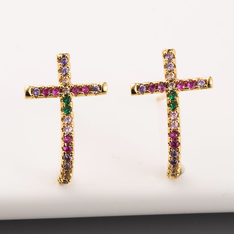 New fashion cross ear studs brass plated real gold micro-set color diamond rainbow earrings wholesale NHLN213418