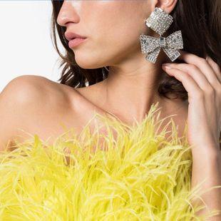 Nuevos pendientes de arco de diamantes de aguja de plata 925 nihaojewelry al por mayor NHLN213422's discount tags