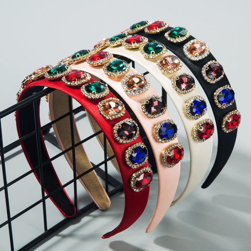 Vintage high-end fabric headband wholesale fashion inlaid colored glass rhinestone pressure hair satin headband NHLN213426