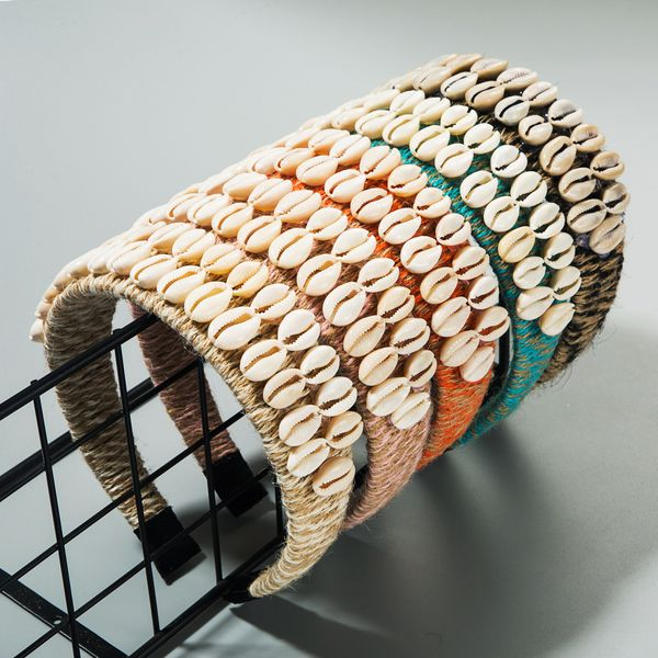 Fashion headband female double row shell large version wide-brimmed headband creative headband nihaojewelry wholesale NHLN213427
