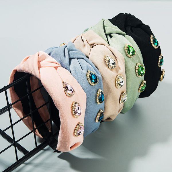 South Korea's new high-end boutique fabric headband nihaojewelry wholesale rhinestone glass diamond bow colorful wide-brimmed headband NHLN213431