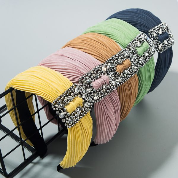 Han hot selling high-end hair accessories diamond-studded solid color fabric pleated wide-brimmed hair hoop NHLN213432