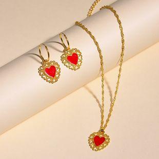 Nuevos aretes collar conjunto amor gota aceite collar pendientes Yiwu al por mayor NHOT207342's discount tags