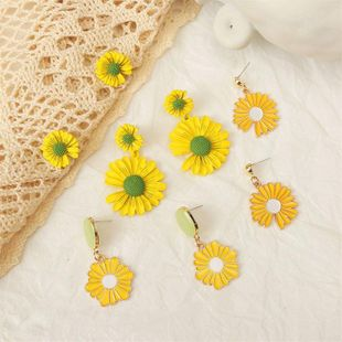 Korean cute 925 silver needle daisy earrings for women wholesale NHLA207156's discount tags