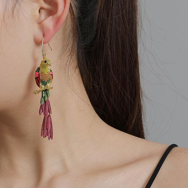 Fancy Color Diamond Acrylic Diamond Parakeet Earrings Female Fashion Stud Earrings NHJJ207160