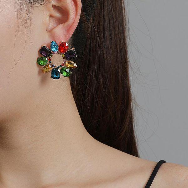 New fashion geometric round earrings glass full diamond color earrings wholesale NHJJ207163