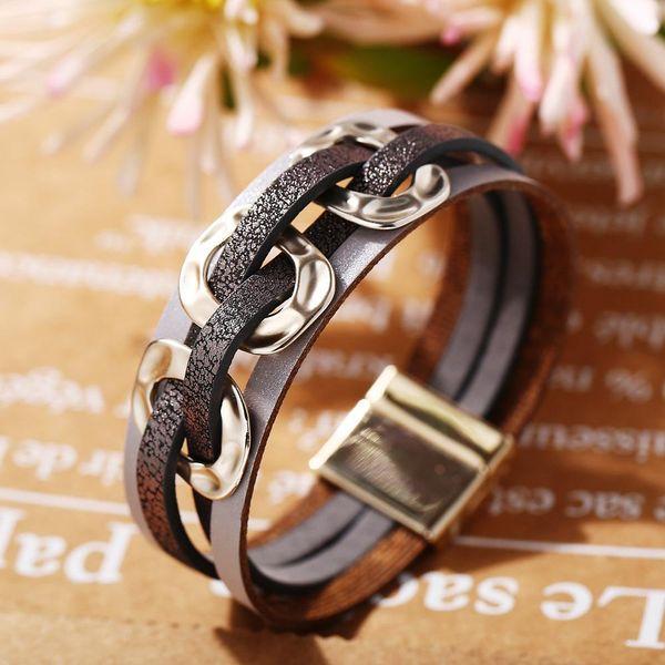 Golden three circle faux leather bracelet retro simple magnetic buckle bracelet wholesale NHPJ207181
