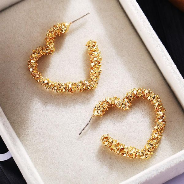 New hollow love creative retro simple golden earrings NHPJ207182