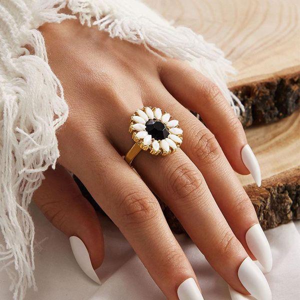 New sunflower ring retro simple golden joint ring NHPJ207183