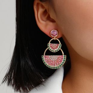 New fashion geometric ethnic style full drill earrings for women wholesale NHXR207188's discount tags