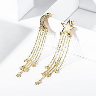 925 Silver Fashion Star Moon Tassel Fashion Asymmetric Earrings for Women Wholesale NHPP207208's discount tags