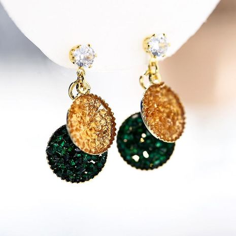 Simple fashion geometric earrings 925 silver needle fresh green earrings wholesale NHPP207211's discount tags