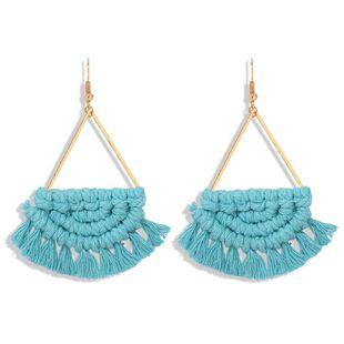 New bohemian fan-shaped hand-woven earrings for women wholesale NHJQ207235's discount tags