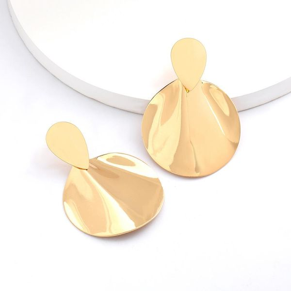 New round geometric alloy retro simple earrings for women wholesale NHJE207243