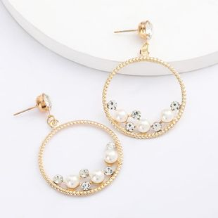 New fashion round alloy acrylic earrings with diamonds and pearls for women wholesale NHJE207246's discount tags