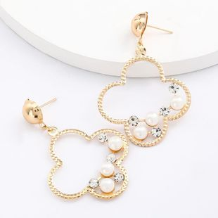 Geometric flower alloy acrylic diamond and pearl earrings for women wholesale NHJE207247's discount tags