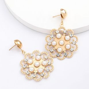 New Flower Alloy Acrylic Diamond and Pearl Earrings for Women Wholesale NHJE207248's discount tags