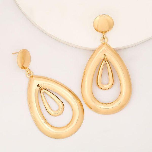 The new multi-layer hollow drop-shaped alloy geometric earrings for women wholesale NHJE207249