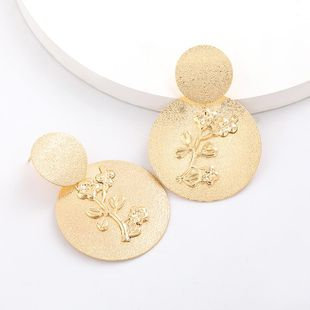 New metal multi-layer round alloy flower relief earrings for women wholesale NHJE207253's discount tags