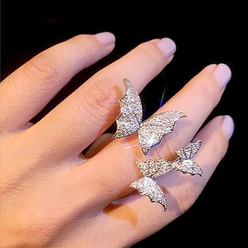 Color threedimensional three butterfly rings flash diamond microset zircon open index finger ring for women wholesale NHNT207259