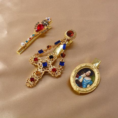 Korean metal hairpin oil painting French cheap hairpin wholesale NHNT207265's discount tags