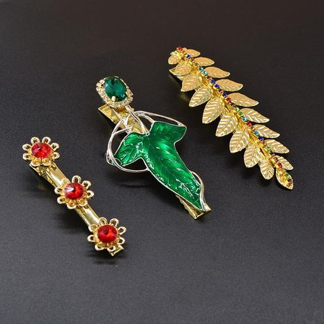 Simple side female rhinestone hairpin leaves cheap hairpin wholesale NHNT207269's discount tags