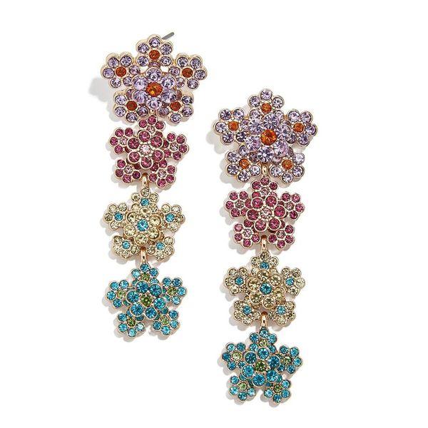 Vintage bohemian long earrings ethnic style colorful flowers tassel earrings wholesale NHLL207271