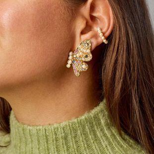 Korean new crystal earrings colorful butterfly rhinestone earrings wholesale NHLL207273's discount tags