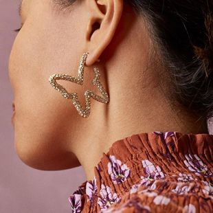 The new butterfly exaggerated hollow diamond earrings for women wholesale NHLL207278's discount tags