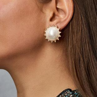 Simple fashion round pearl earrings wholesale NHLL207282's discount tags