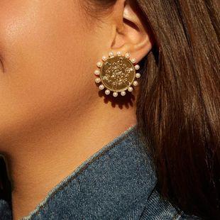 New Korean pearl earrings retro metal high-grade silver needle earrings female NHLL207290's discount tags