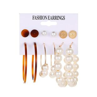 Set pearl earrings leopard pattern C-shaped acetate plate earrings simple 6 pairs of exaggerated earrings female NHDP207309's discount tags