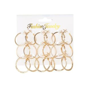 New simple wild circle 9 pairs of earrings women wholesale NHDP207310's discount tags