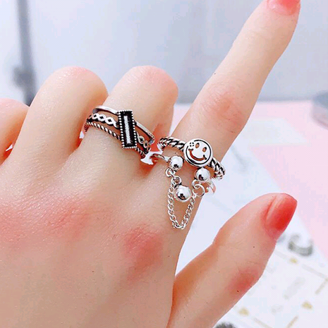 Mode simple rétro smiley anneau ouvert yiwu nihaojewelry gros NHSC207496's discount tags