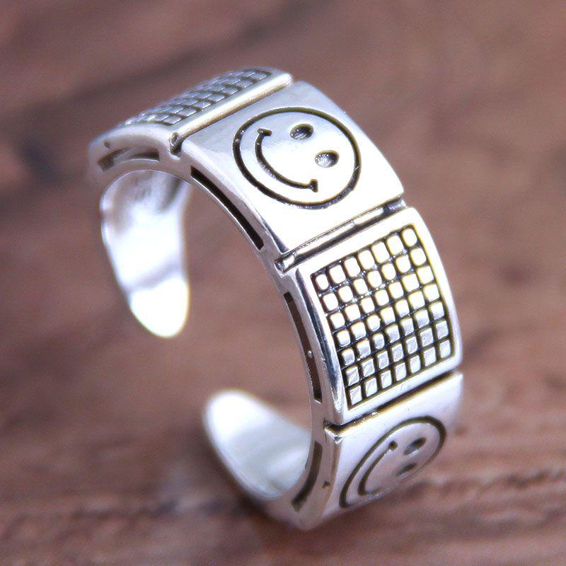 Fashion retro smiley open ring wholesale NHSC207516