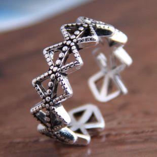 Anillo abierto de diamantes geométricos retro de moda al por mayor NHSC207515's discount tags