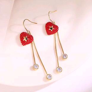 Exquisita moda coreana dulce OL flash diamante amor pendientes aretes temperamento NHSC207514's discount tags