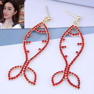 925 plata exquisita moda coreana dulce OL rojo diamante tropical aretes de pescado tropical NHSC207512's discount tags