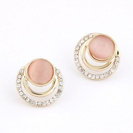 Boutique Korean fashion OL sweet simple circle opal temperament earrings NHSC207528