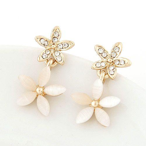 Pendientes de temperamento de ópalo de flor de diamante dulce de moda coreana boutique NHSC207521